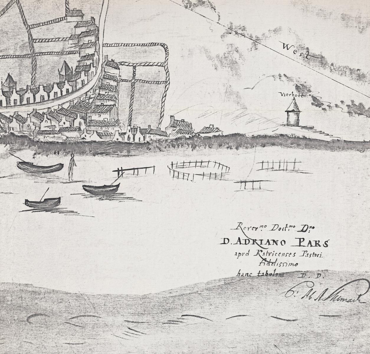 Noordwijk aan Zee in 1560 tekening C. van Alkemade
