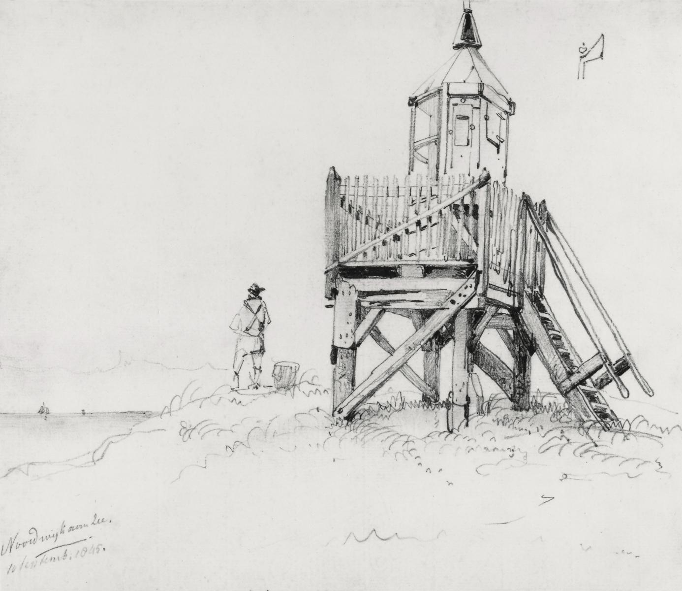 Noordwijk-aan Zee in 1845- tekening W.A. van Deventer