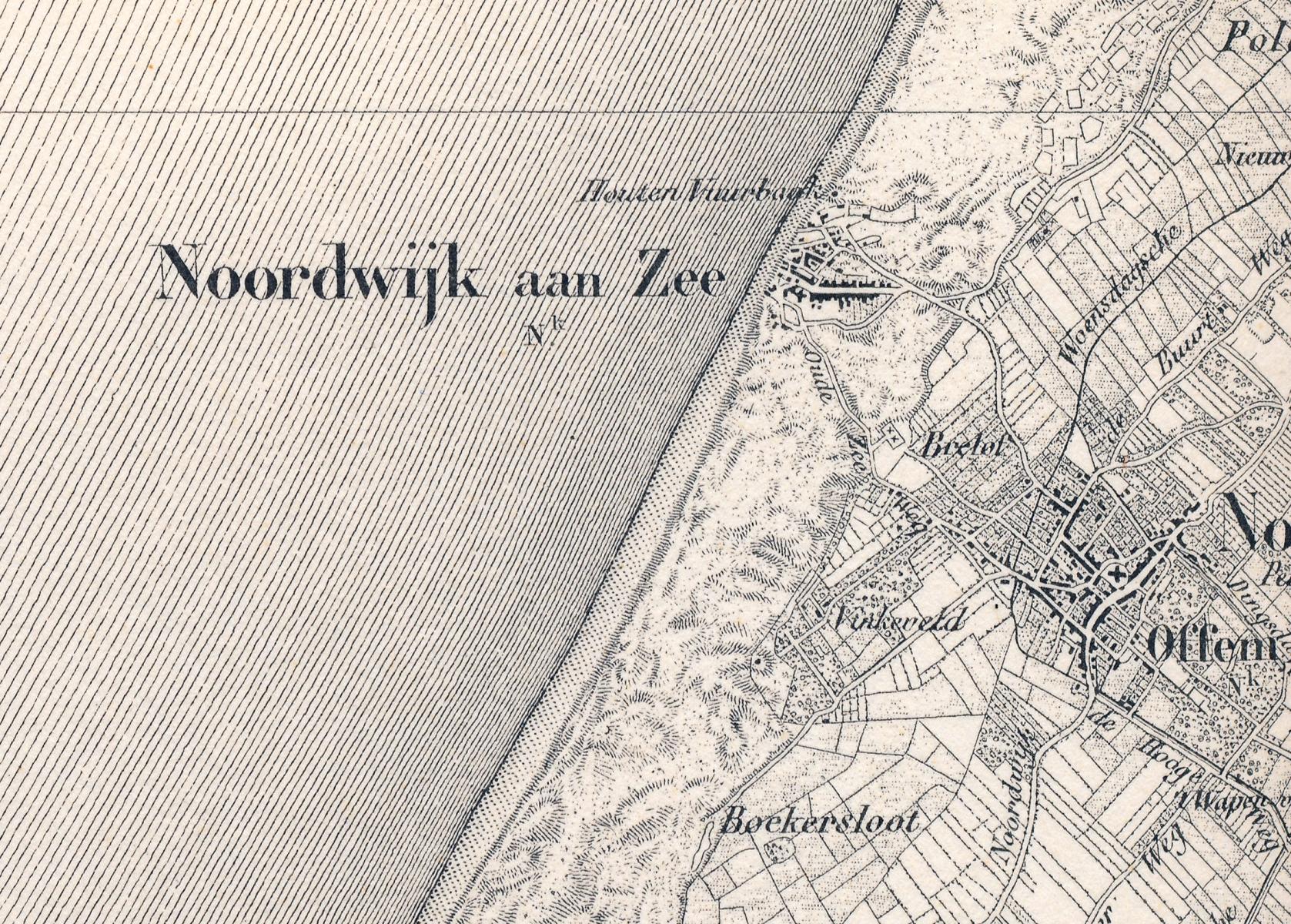 Noordwijk aan Zee in 1864 verkend tussen 1850 en 1862 Militaire kaart van Nederland