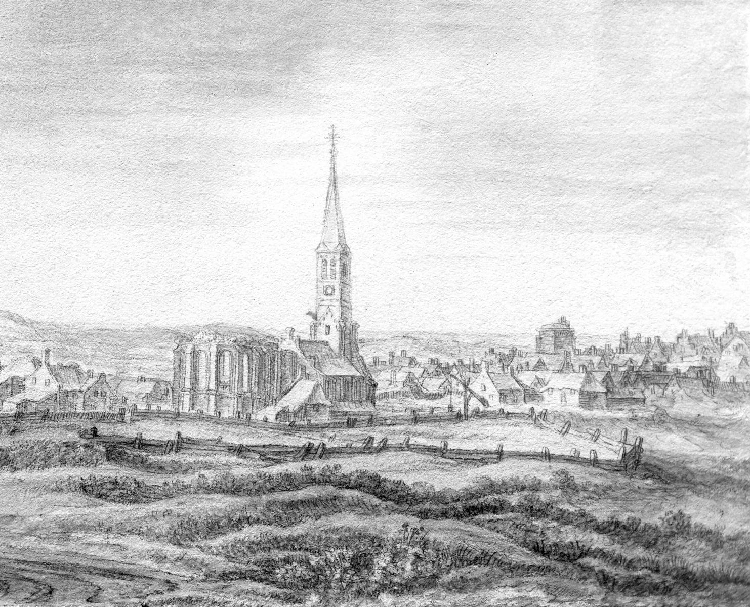 Noordwijk aan Zee midden17e eeuw reproductie van een tekening van A. Waterloo Bron: CollectieTeylers Museum