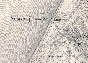Noordwijk aan Zee 1864 (verkend tussen 1850 en 1862) militaire kaart van Nederland